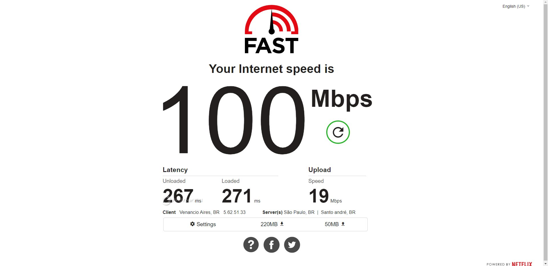 HideMyAss Brazil Speed Test Results