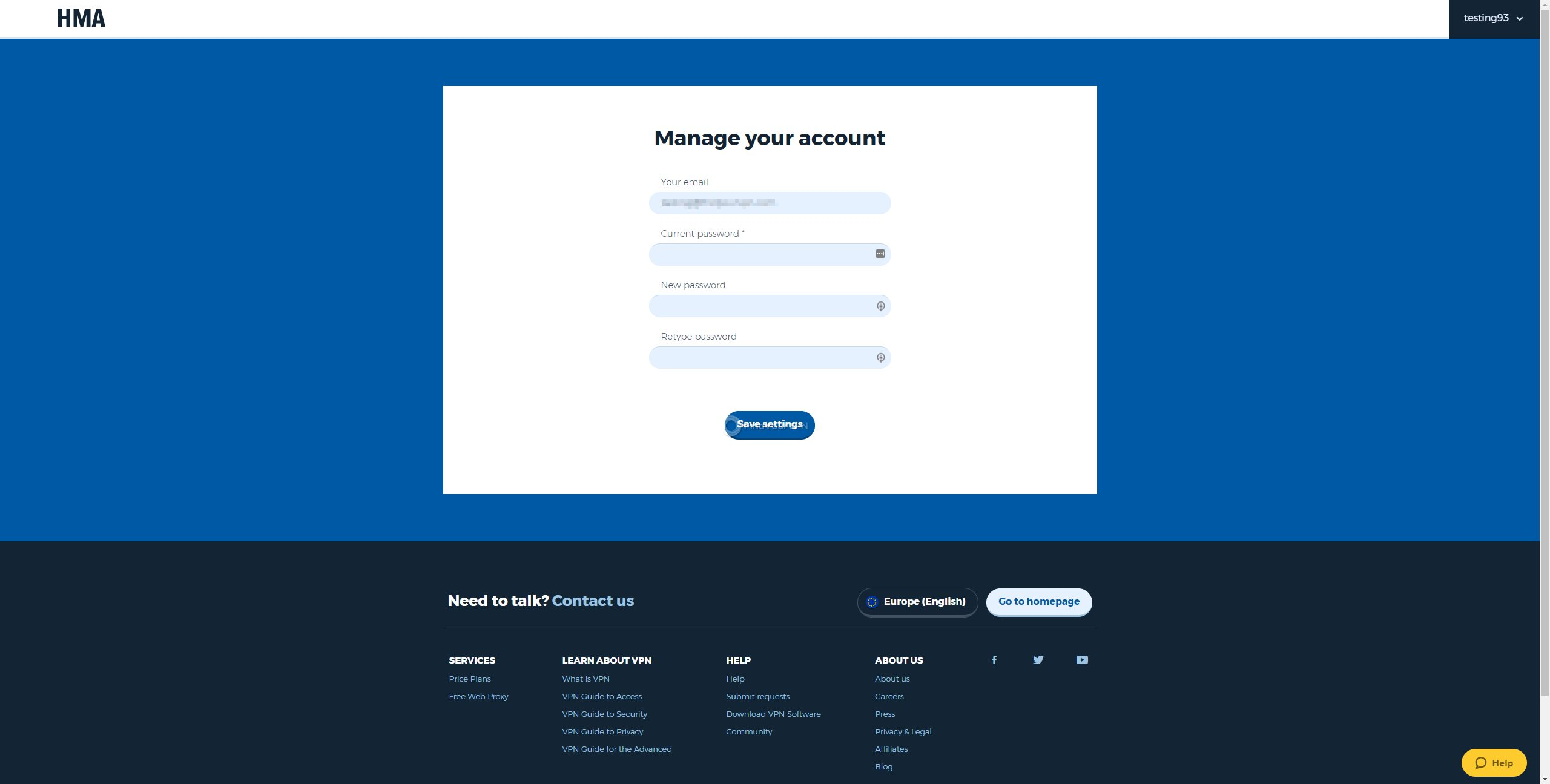 HideMyAss Dashboard Account Management