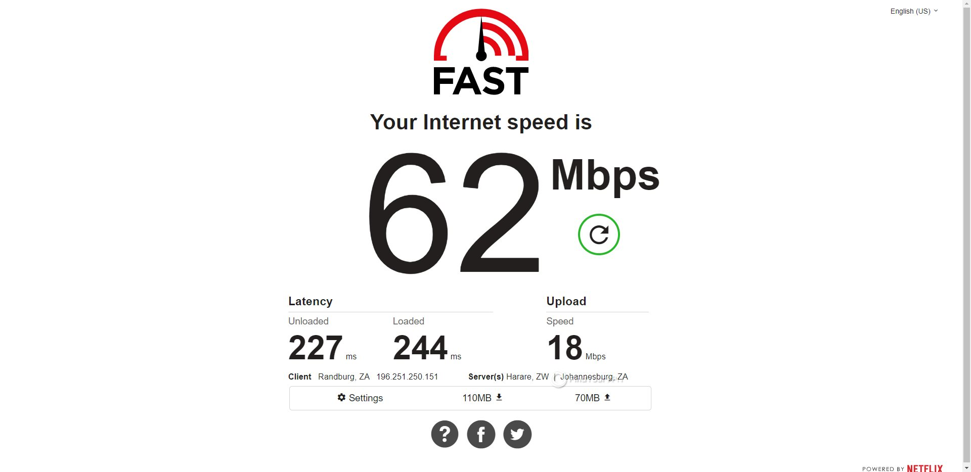 HideMyAss South Africa Speed Test Results