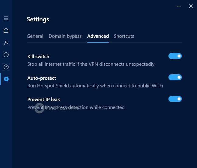 Hotspot Shield Advanced Settings