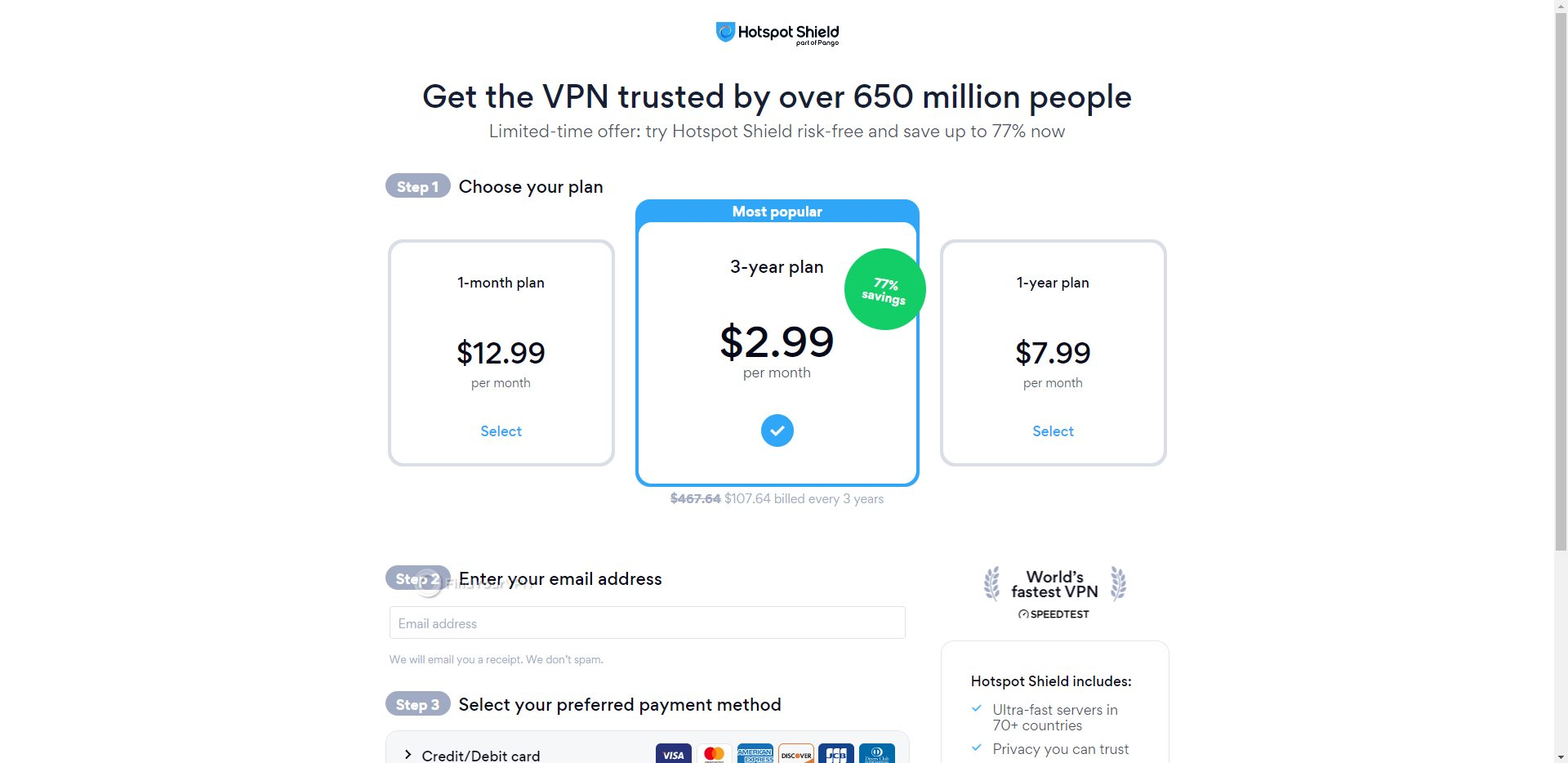 Hotspot Shield Subscription Tiers Page
