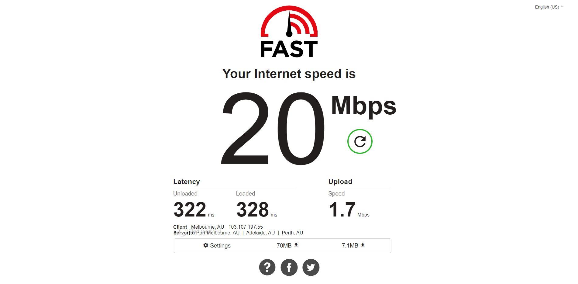 IPVanish Australia Speed Test Results