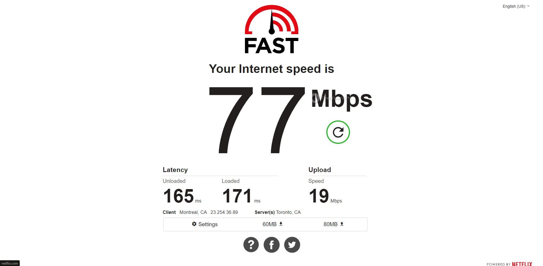 IPVanish Canada Speed Test Results