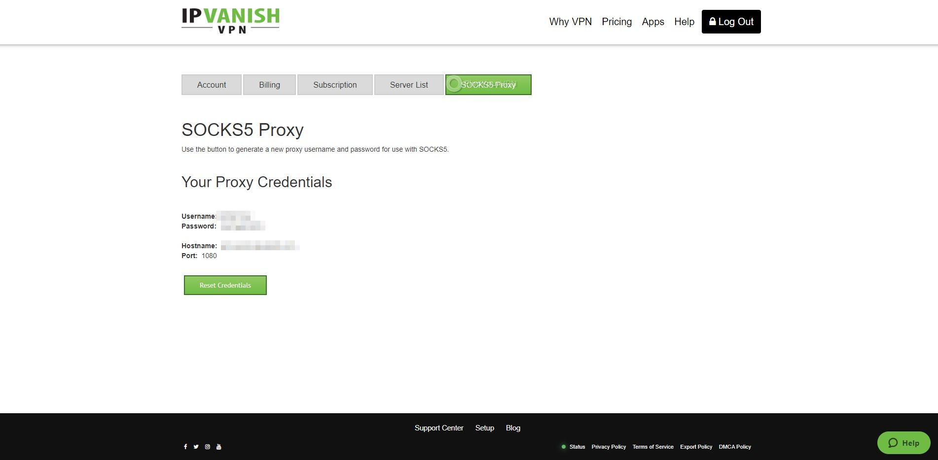 IPVanish Dashboard Socks5 Settings