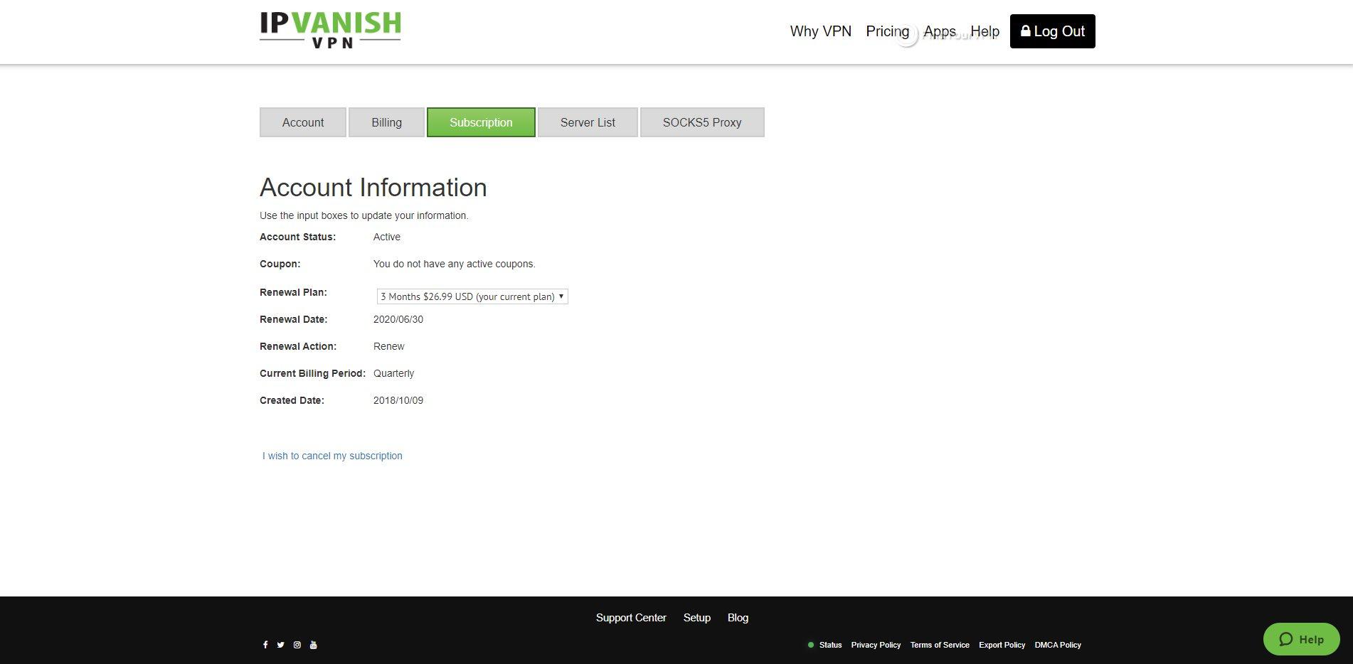 IPVanish Dashboard Subscription Details