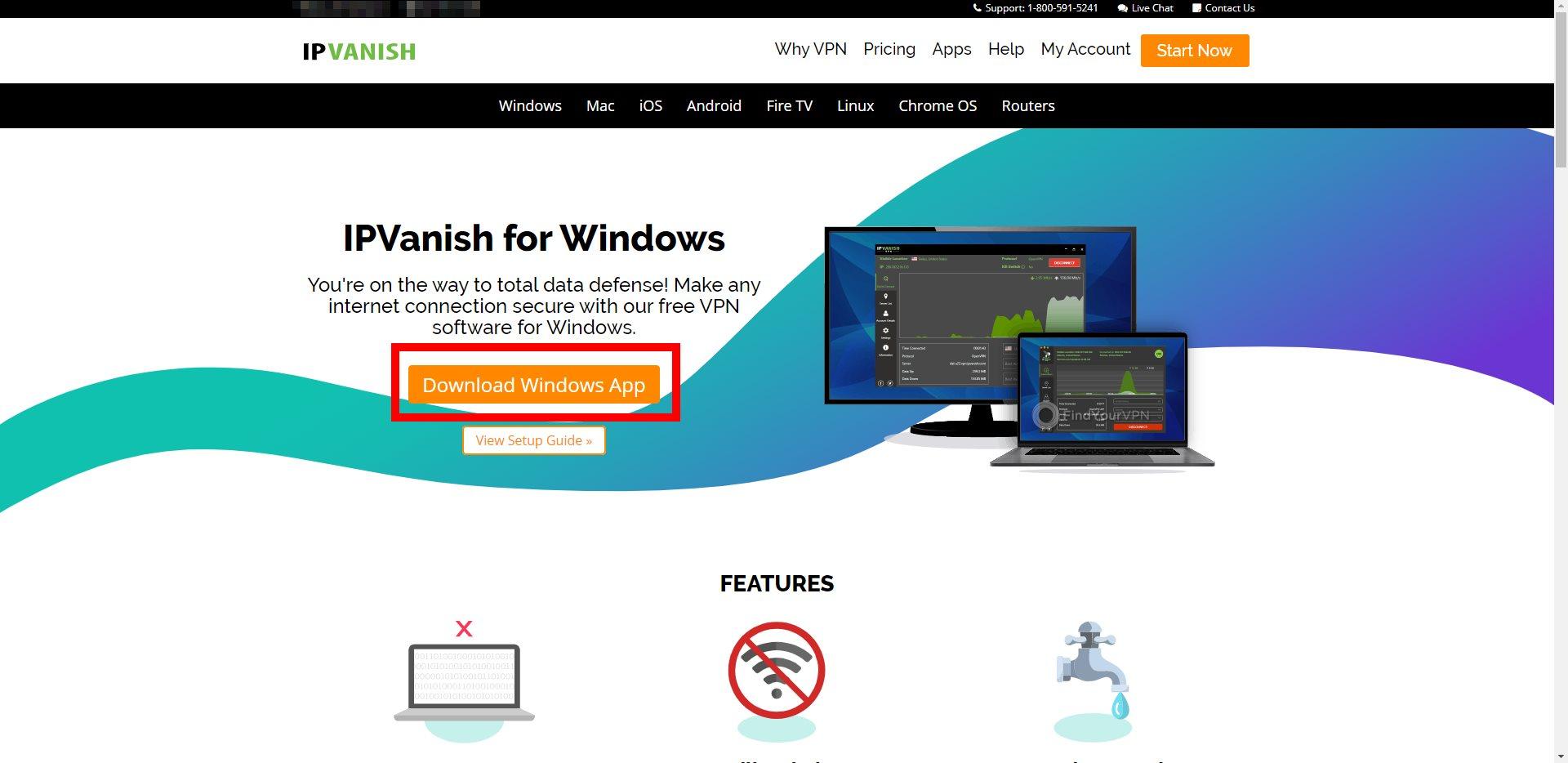 IPVanish Download Windows App Button