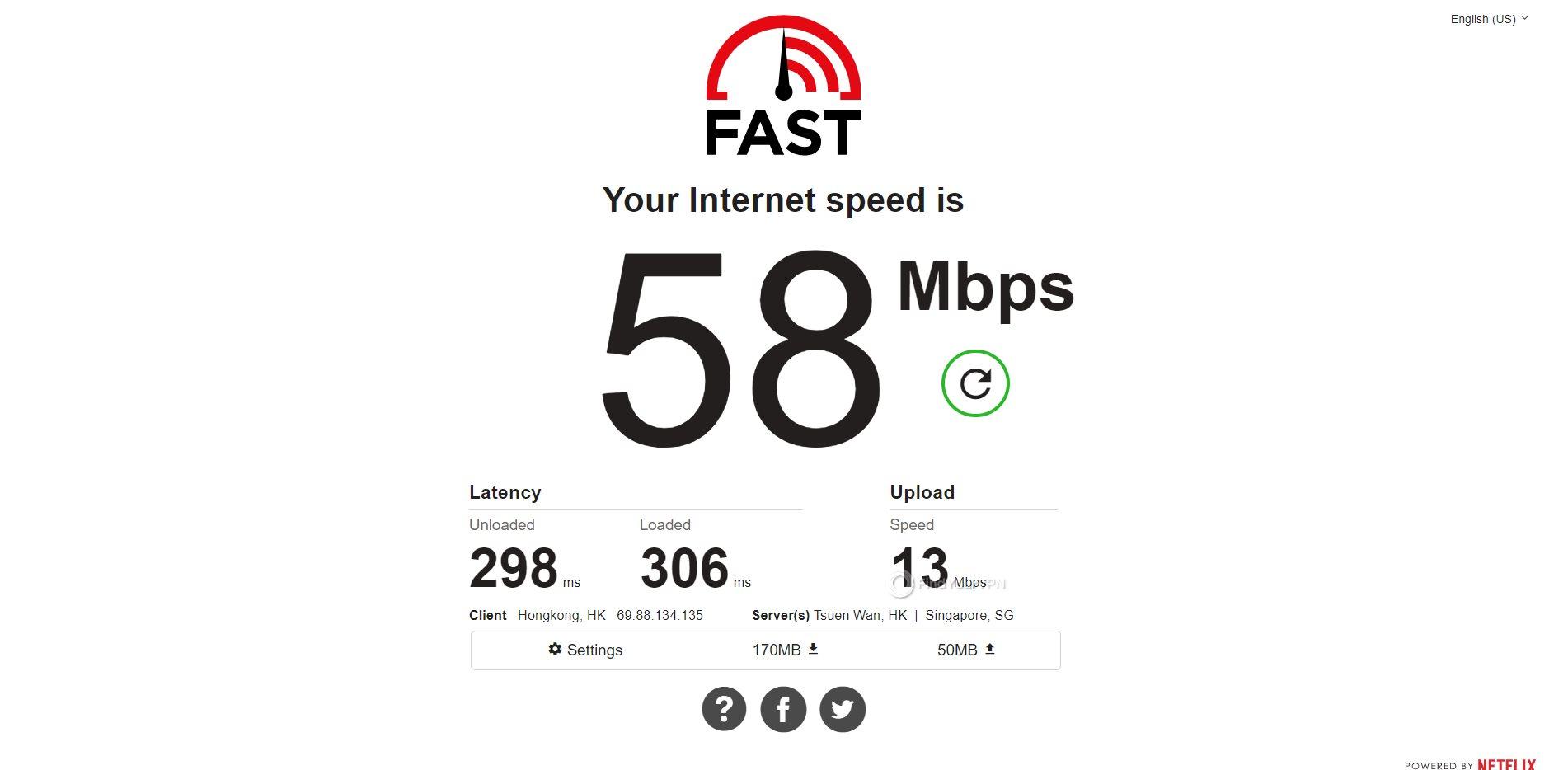 IPVanish Hong Kong Speed Test Results