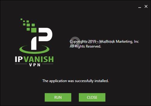 IPVanish Installation Successful Screen