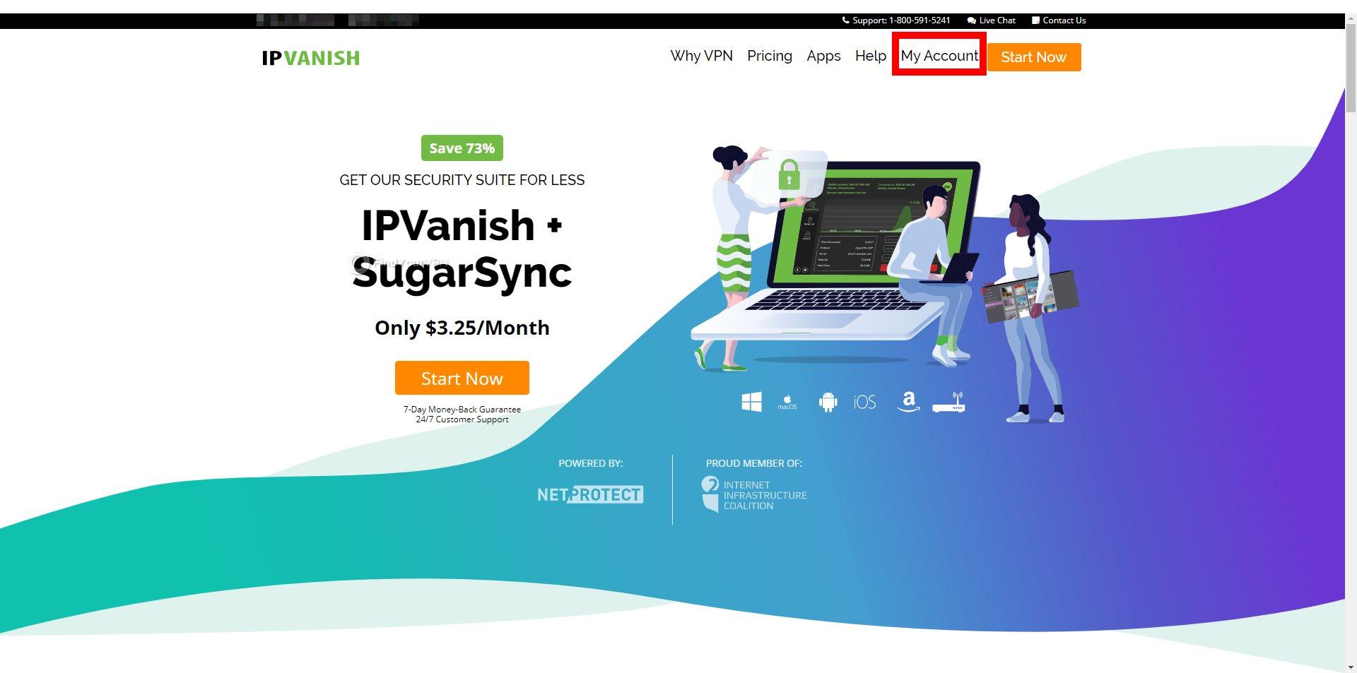 IPVanish Main Homepage Account Button