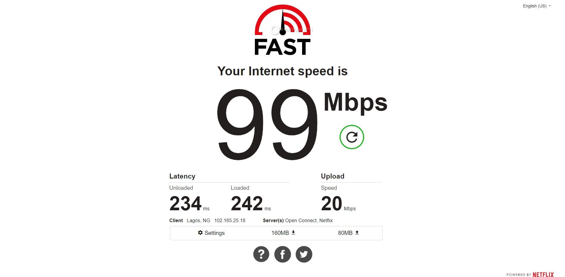 IPVanish Nigeria Speed Test Results