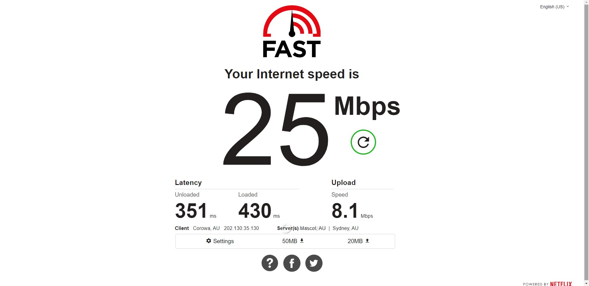 IVPN Australia Speed Test Results