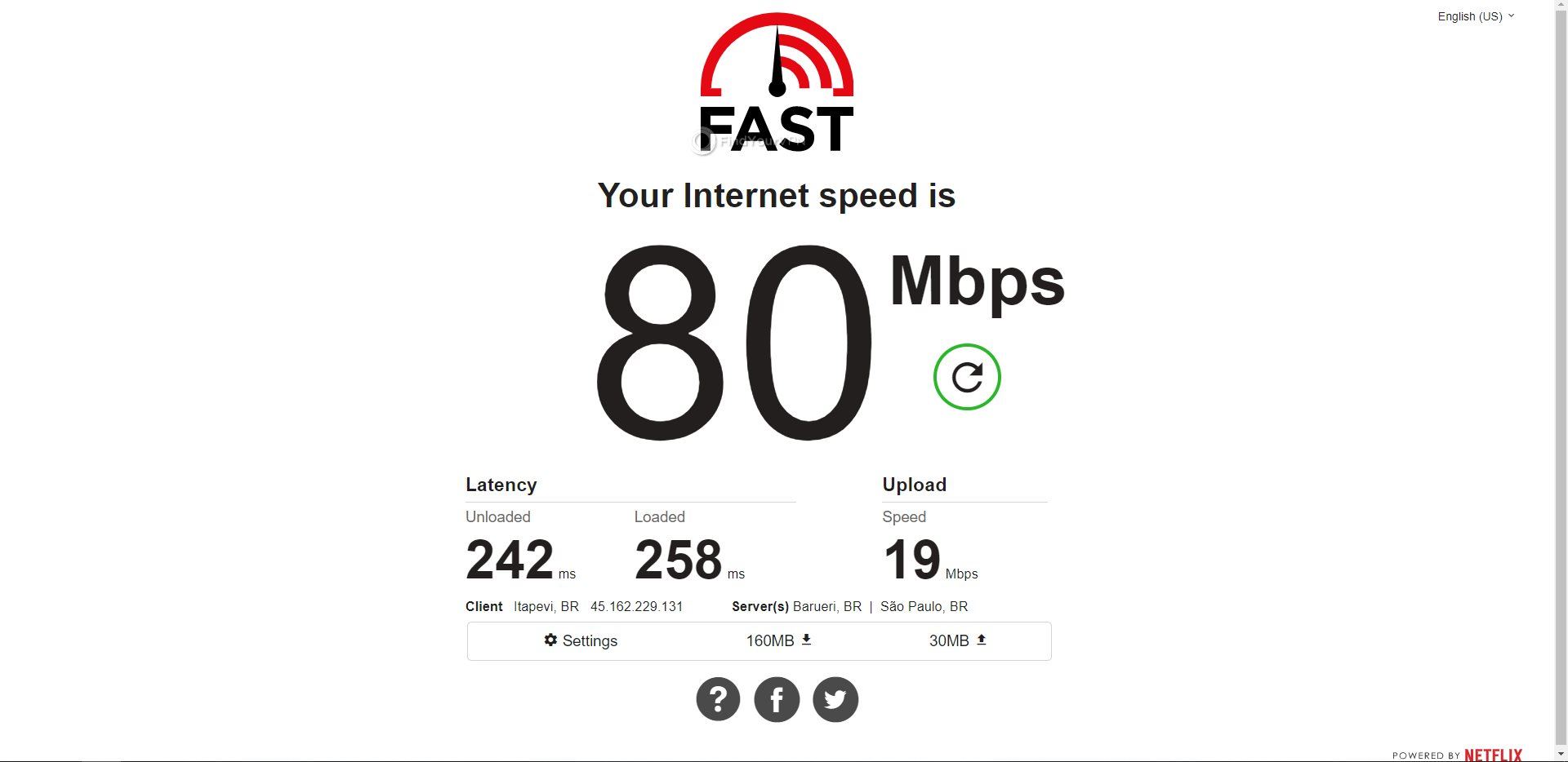 IVPN Brazil Speed Test Results