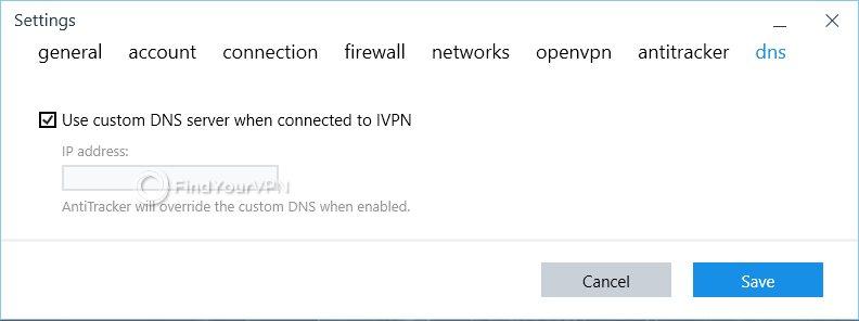 IVPN DNS Settings Panel