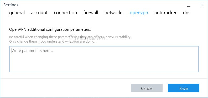 IVPN OpenVPN Settings Panel