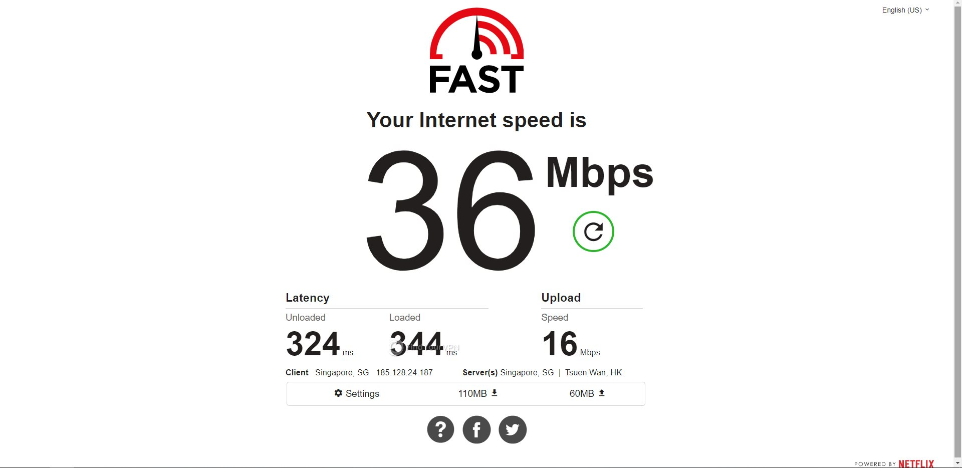 IVPN Singapore Speed Test Results