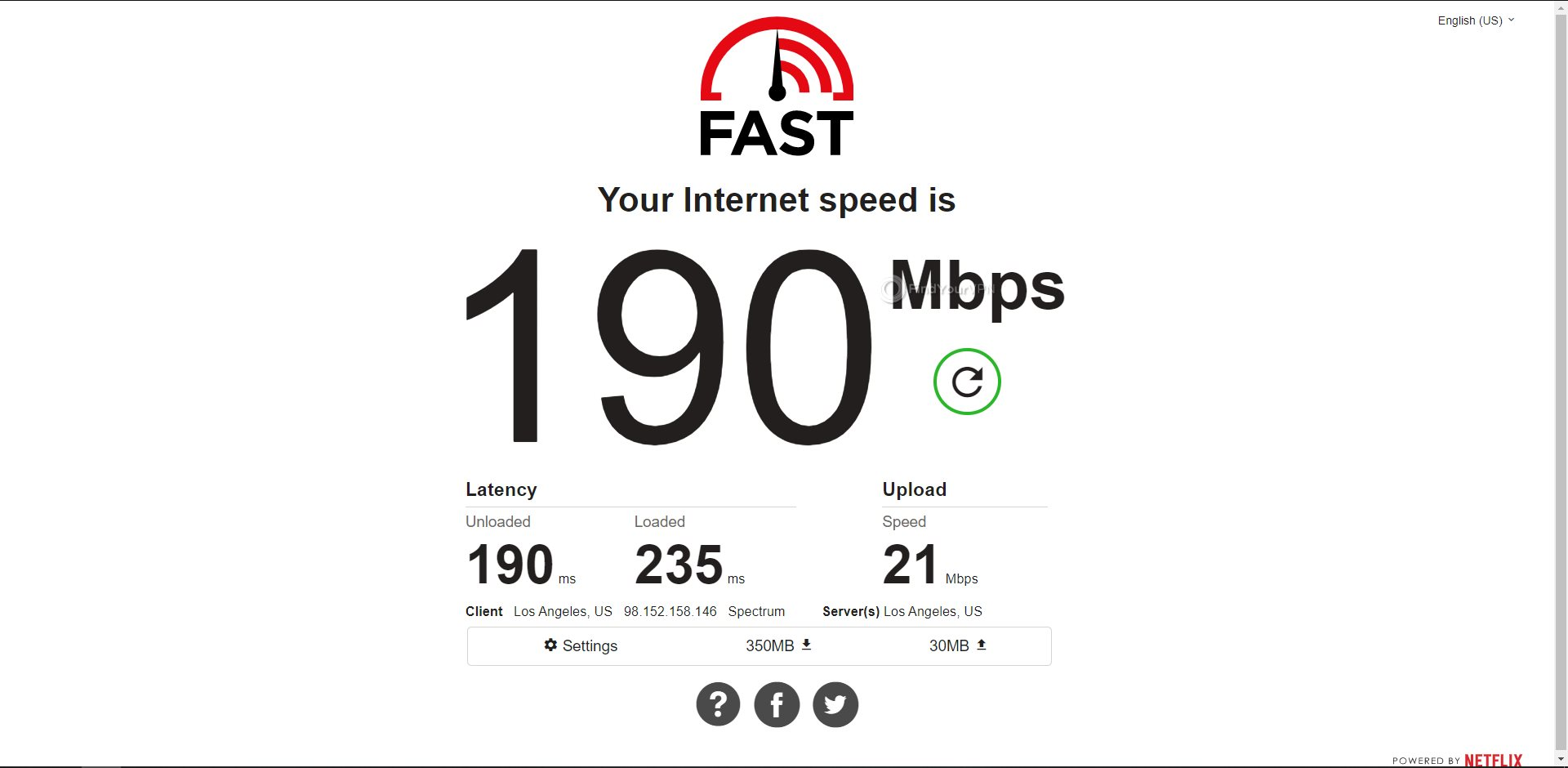 NordVPN USA Speed Test Results