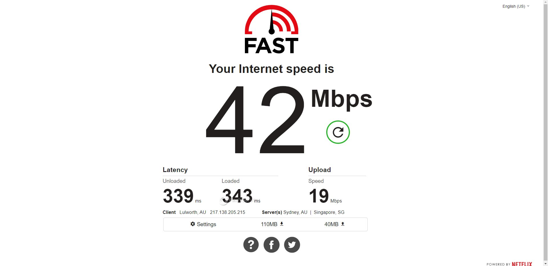 PIA Australia Speed Test Results