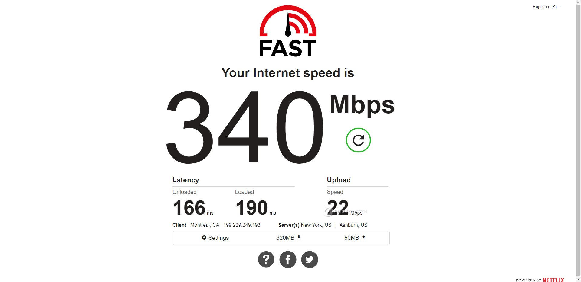 PIA Canada Speed Test Results