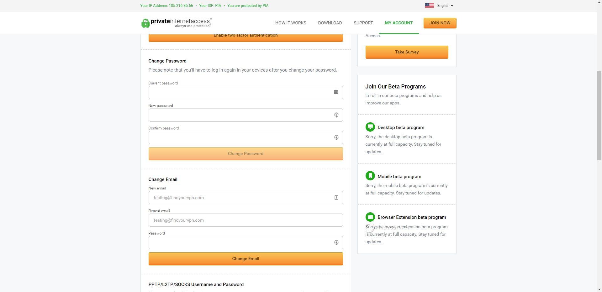PIA Dashboard Account Settings