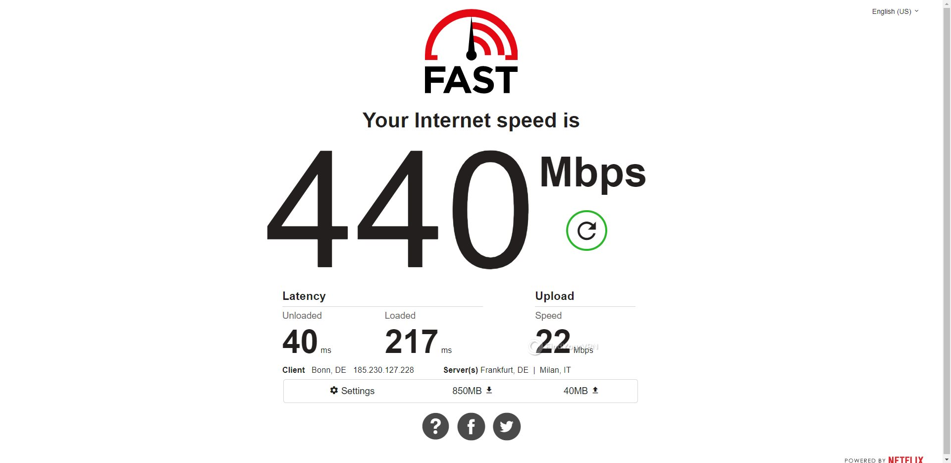PIA Germany Speed Test Results
