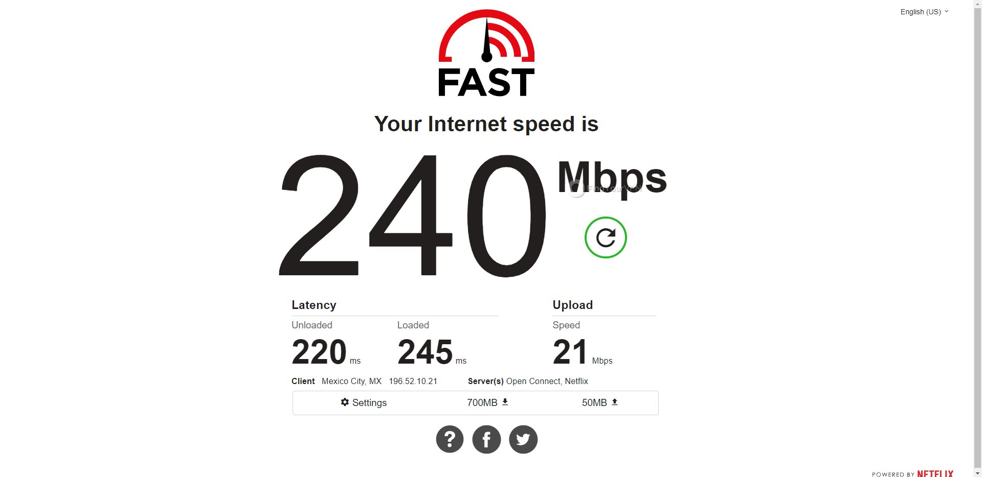 PIA Mexico Speed Test Results