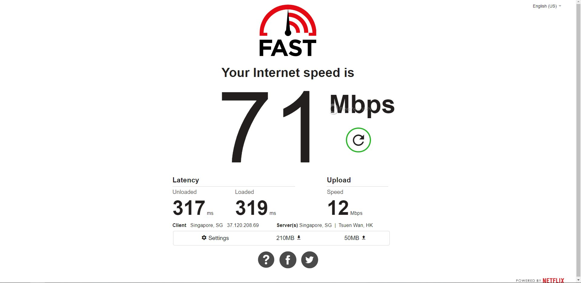 PIA Singapore Speed Test Results