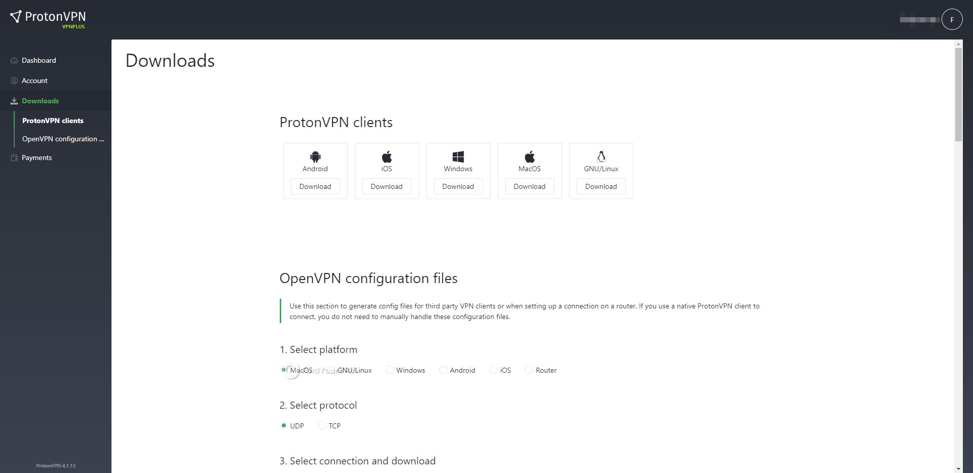 ProtonVPN Dashboard Download Section