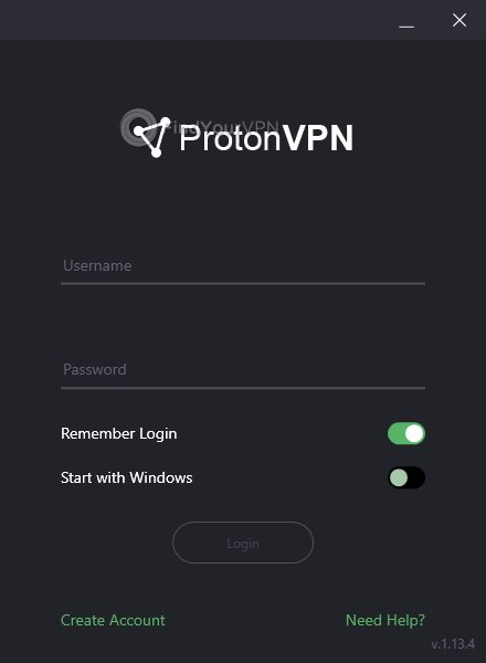 ProtonVPN Interface Login Screen