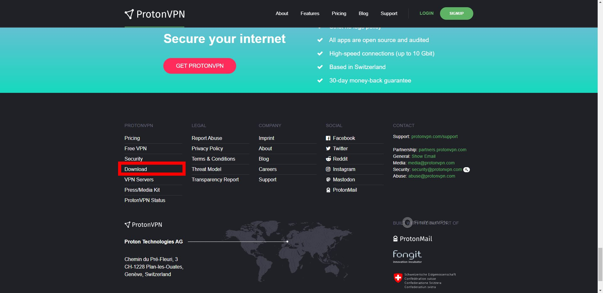 ProtonVPN Main Homepage Footer
