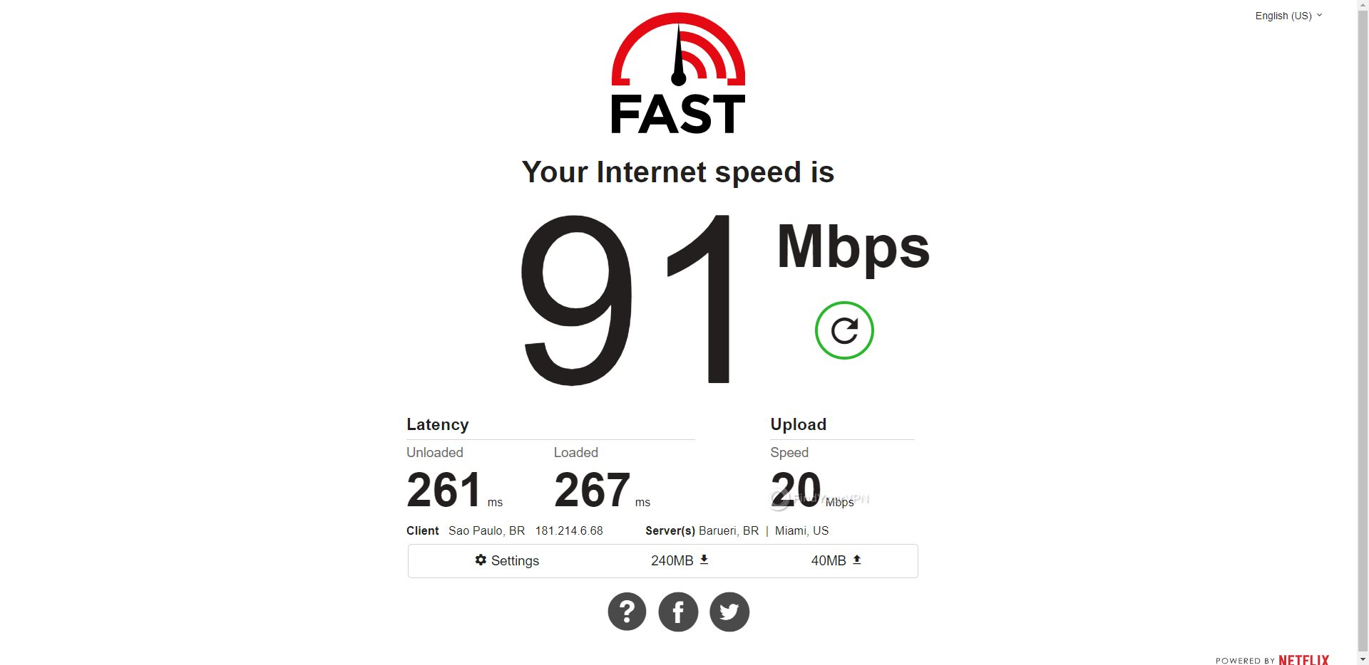 ProtonVPN Brazil Speed Test Results