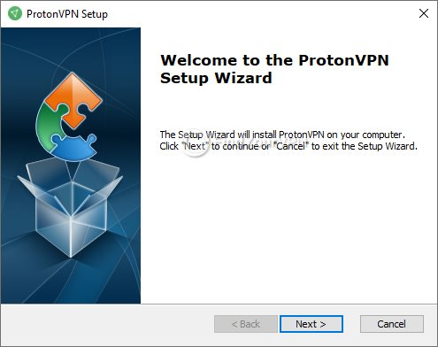 ProtonVPN Install Welcome Screen
