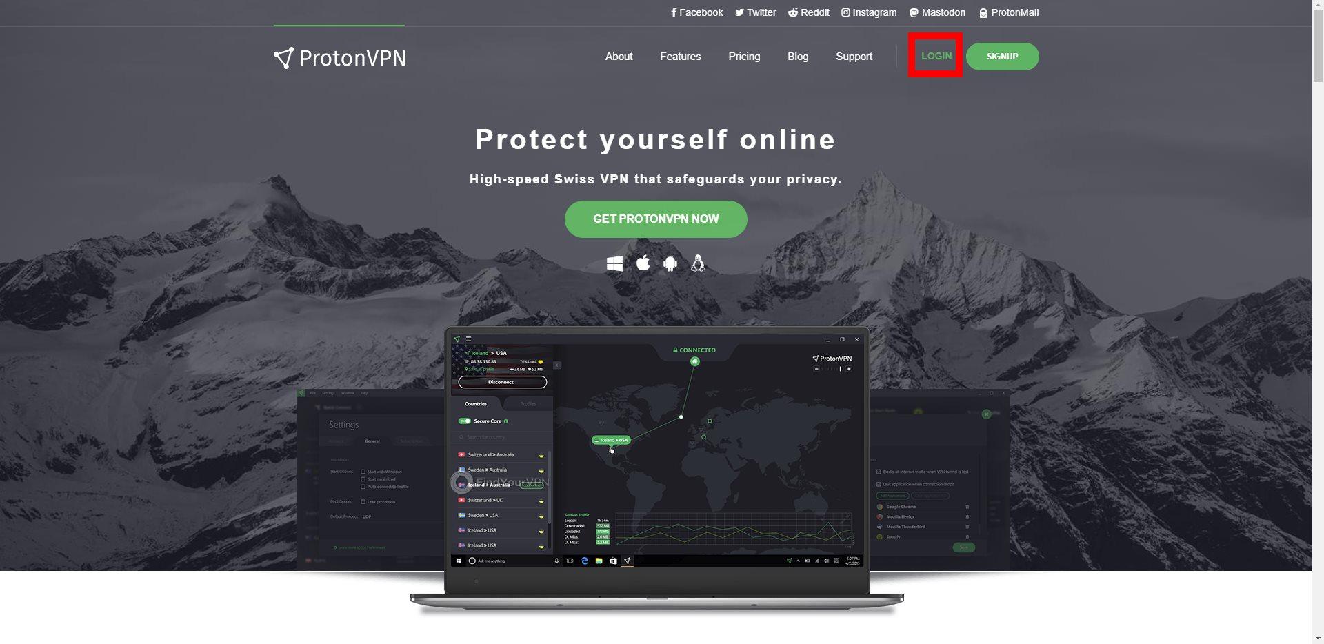 ProtonVPN Main Frontpage