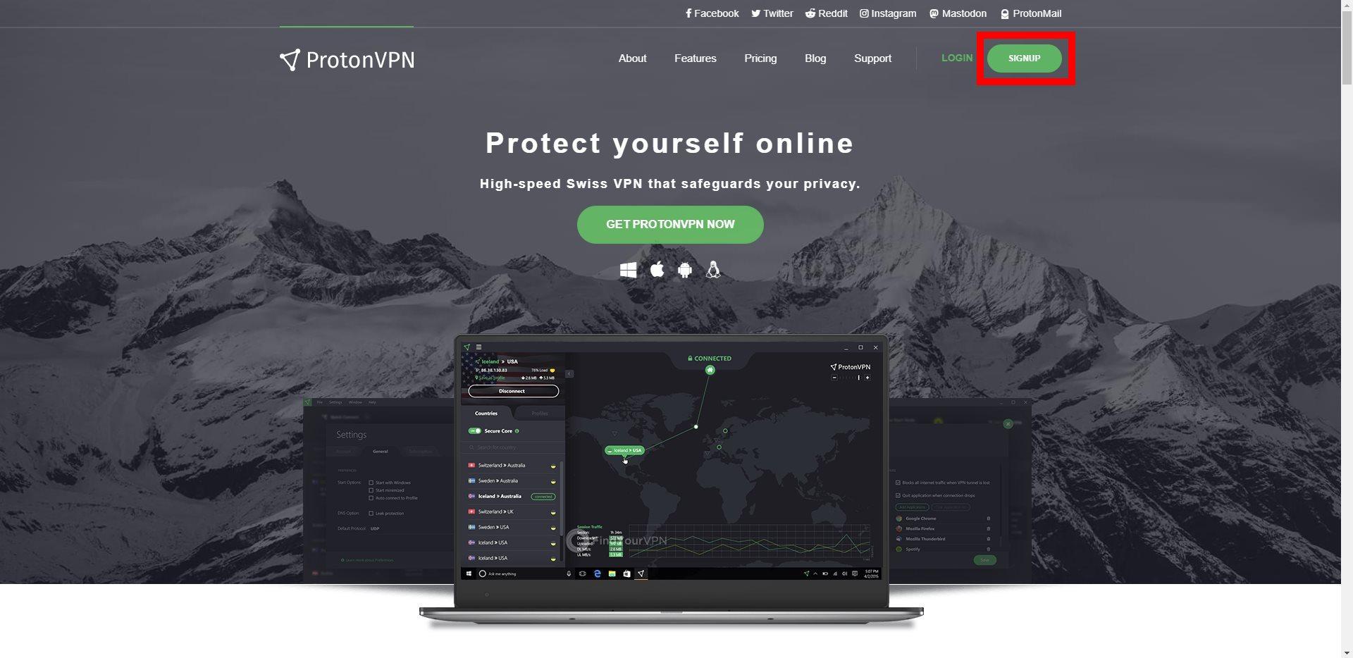 ProtonVPN Main Homepage