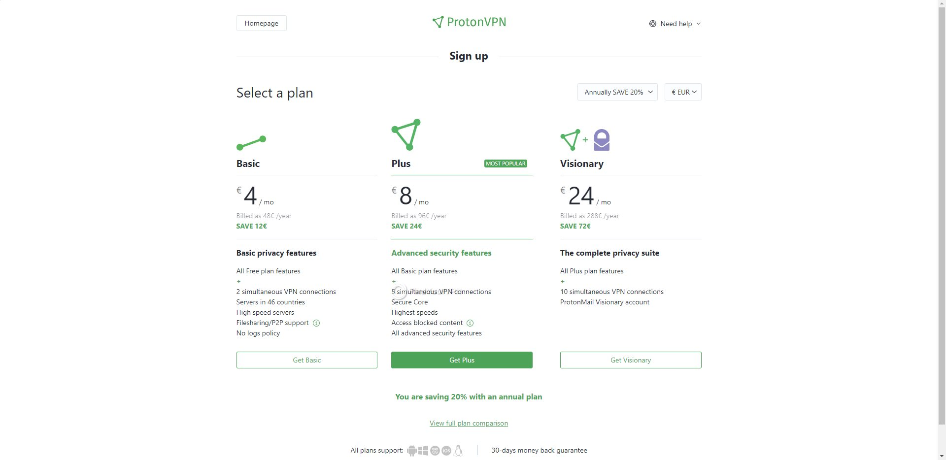ProtonVPN Order Subscription Options