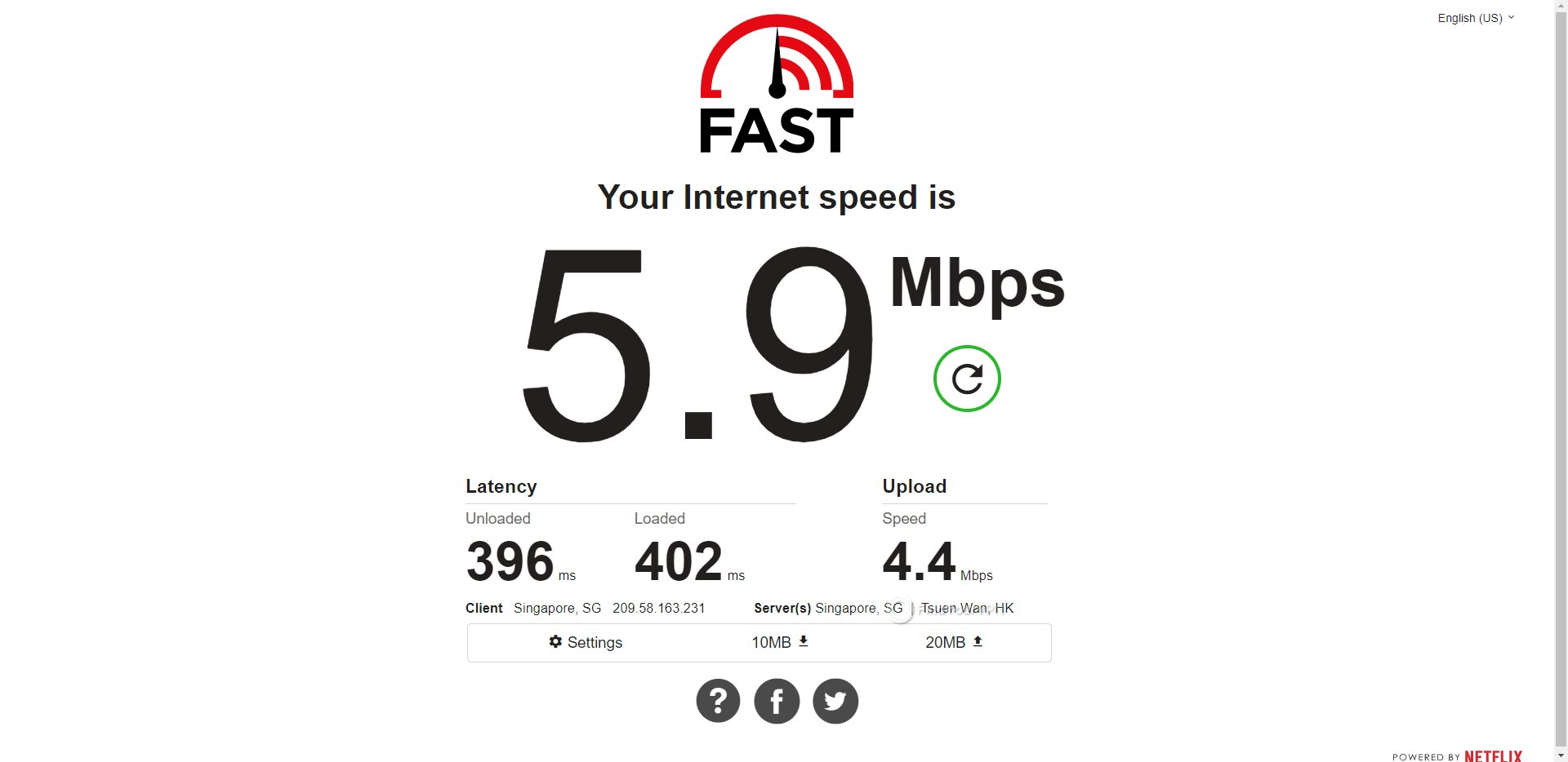 ProtonVPN Singapore Speed Test Results