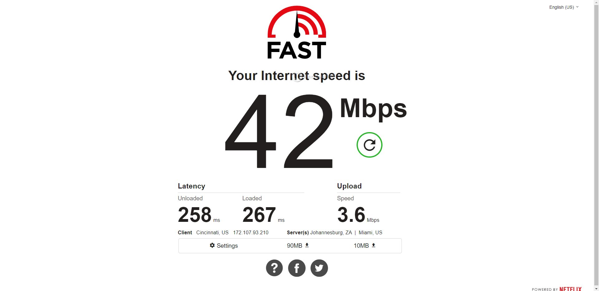 ProtonVPN South Africa Speed Test Results
