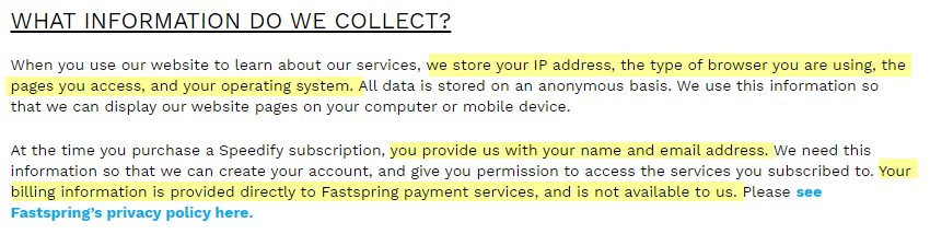 Speedify Data Collection
