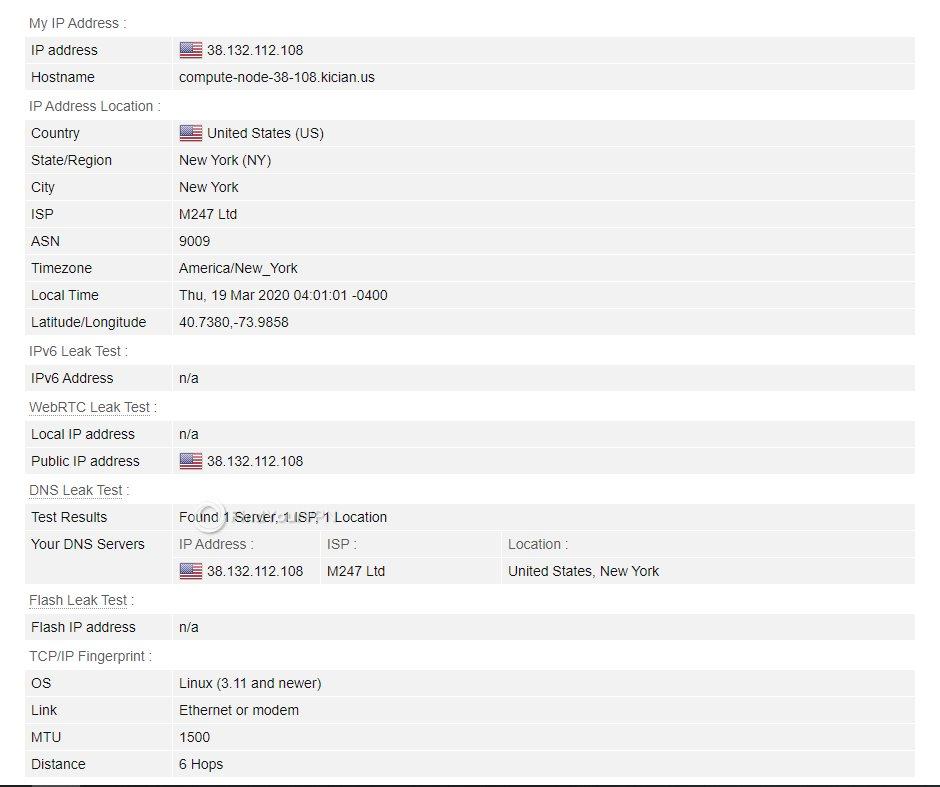 Sufshark BrowserLeaks Test Results