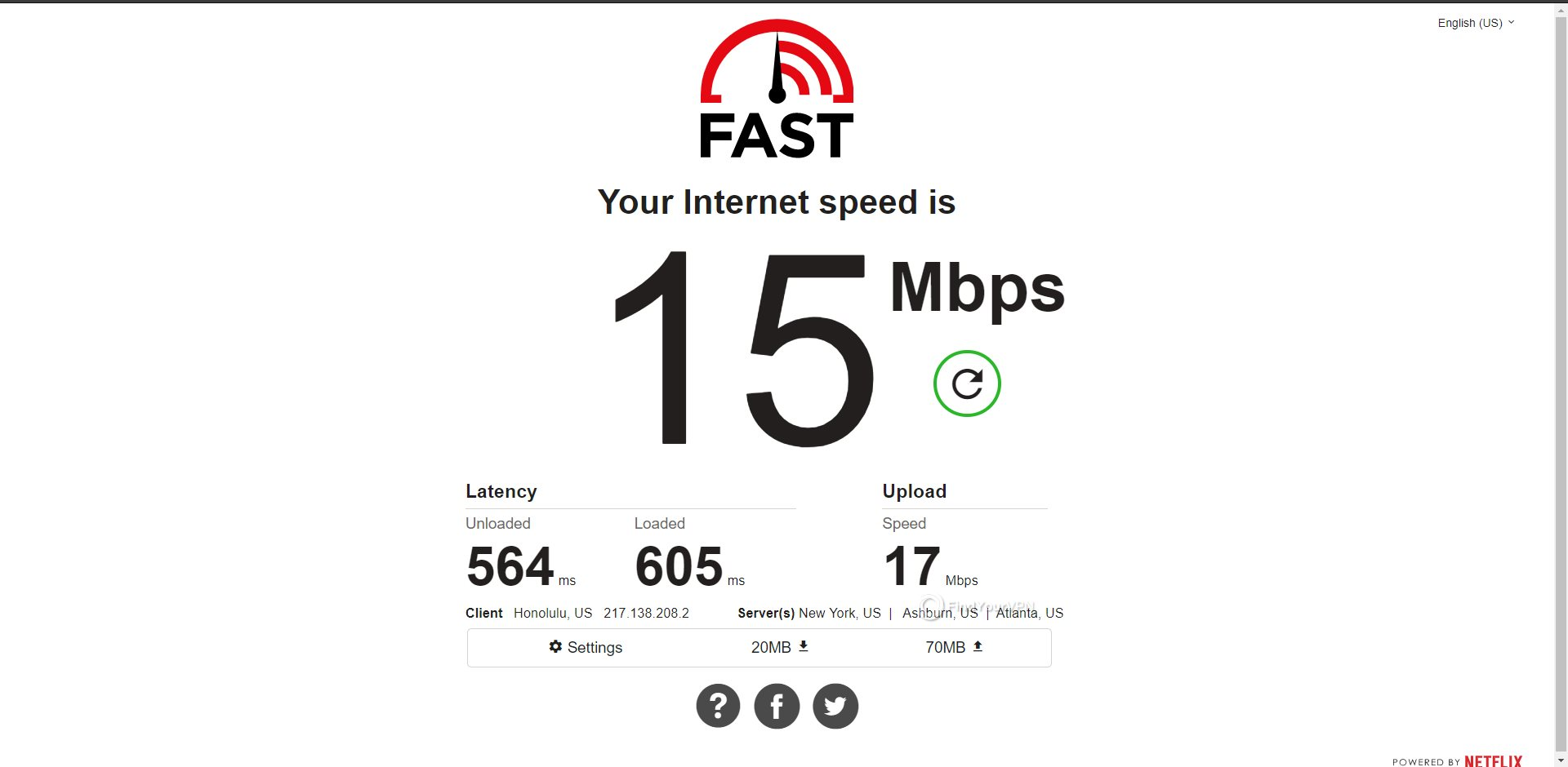 Surfshark Chile Speed Test Results