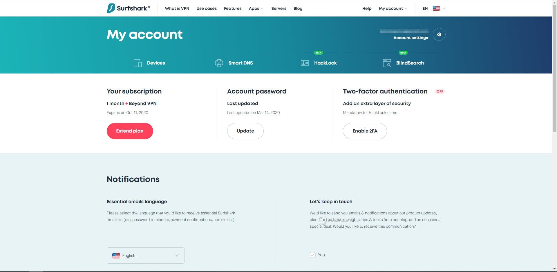 Surfshark Dashboard Main Page