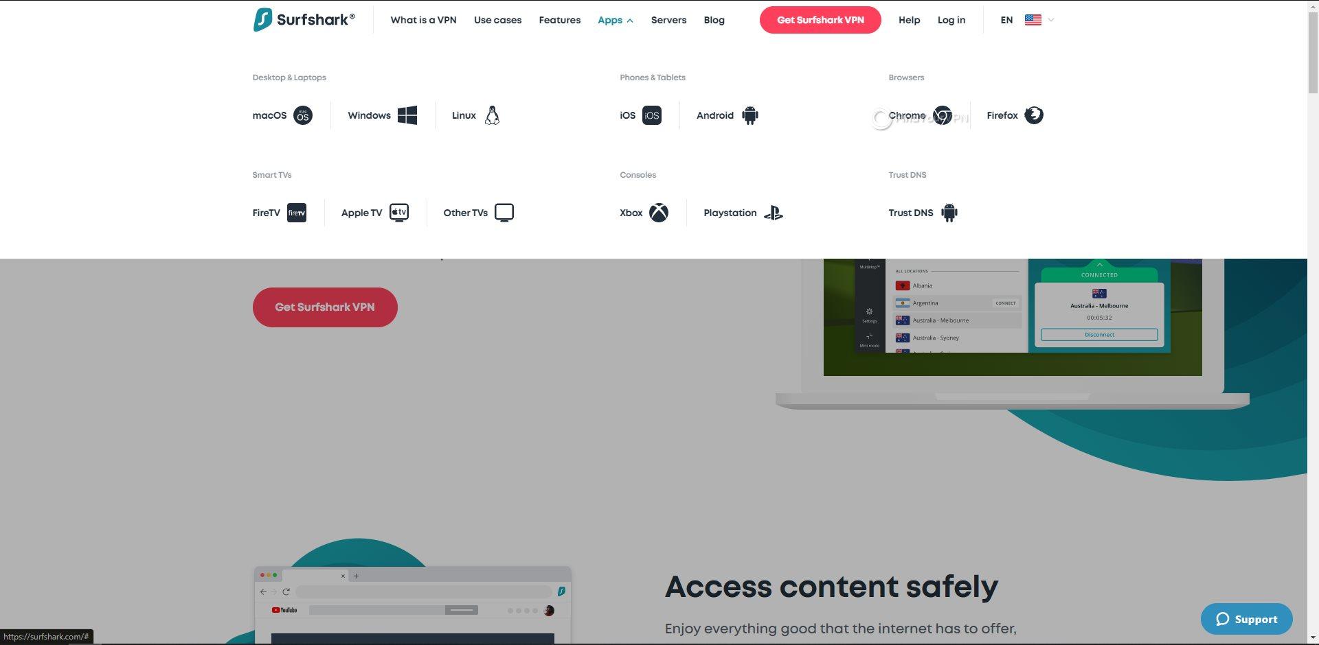 Surfshark Platform Selection Page
