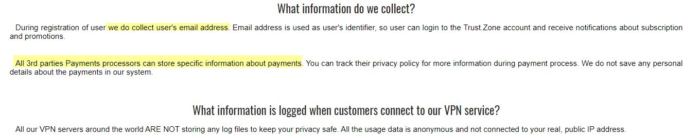 Trust.Zone Privacy Policy Data Collection