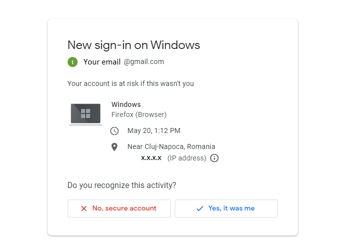 gmail security email with device info