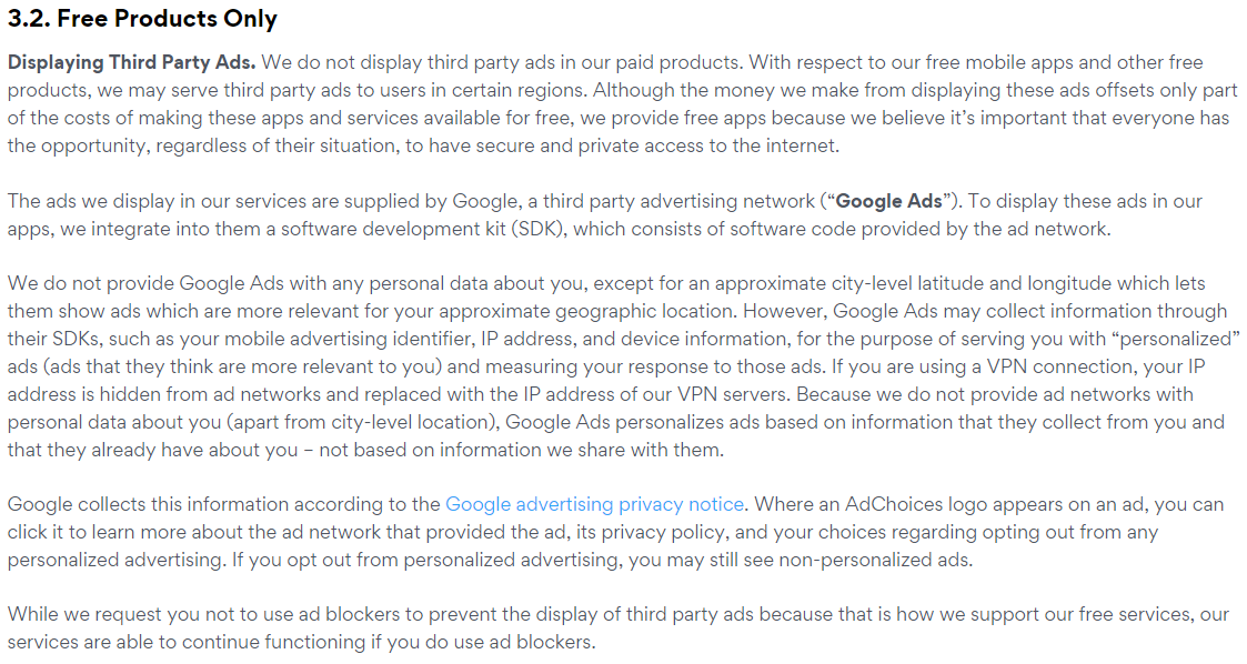 excerpt from privacy policy of Pango