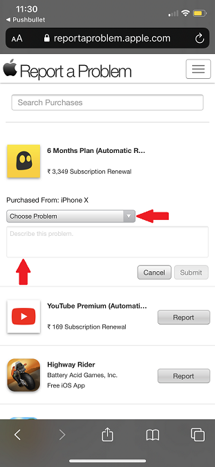 Choose problem button to request VPN refund on App Store