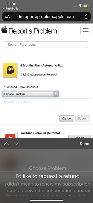 VPN refund options after tapping Choose Problem