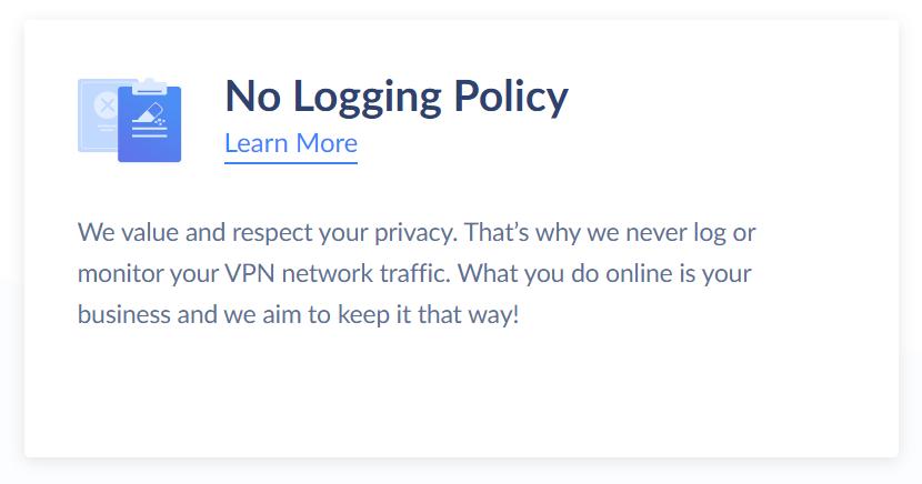 No-logging text on SaferVPN website