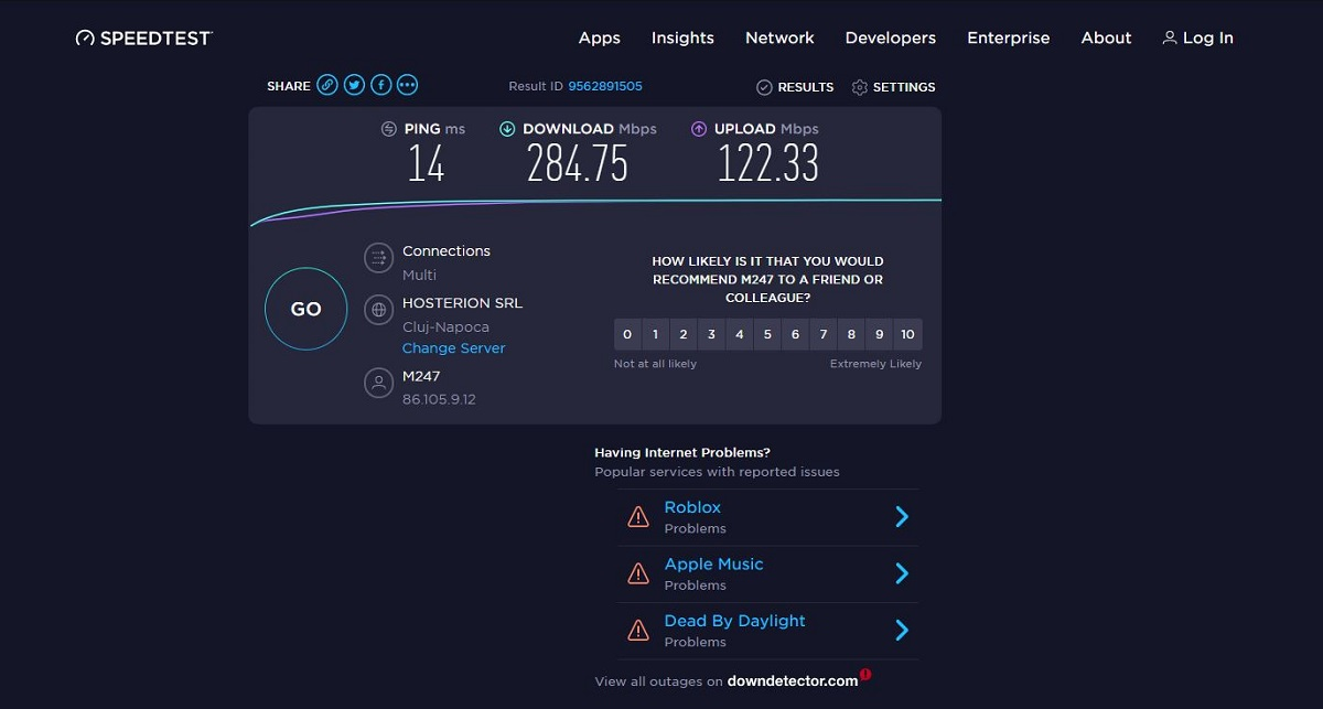 Speeds with the NordLynx protocol (based on WireGuard)