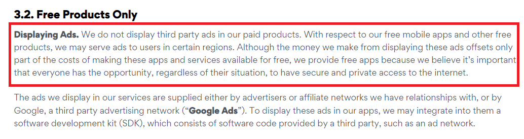 highlighted excerpt of Pango privacy policy