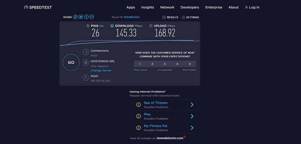 UDP OpenVPN speeds on Ookla's Speedtest.